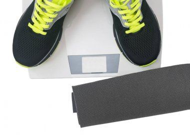sports accessories for fitness isolated on white background.