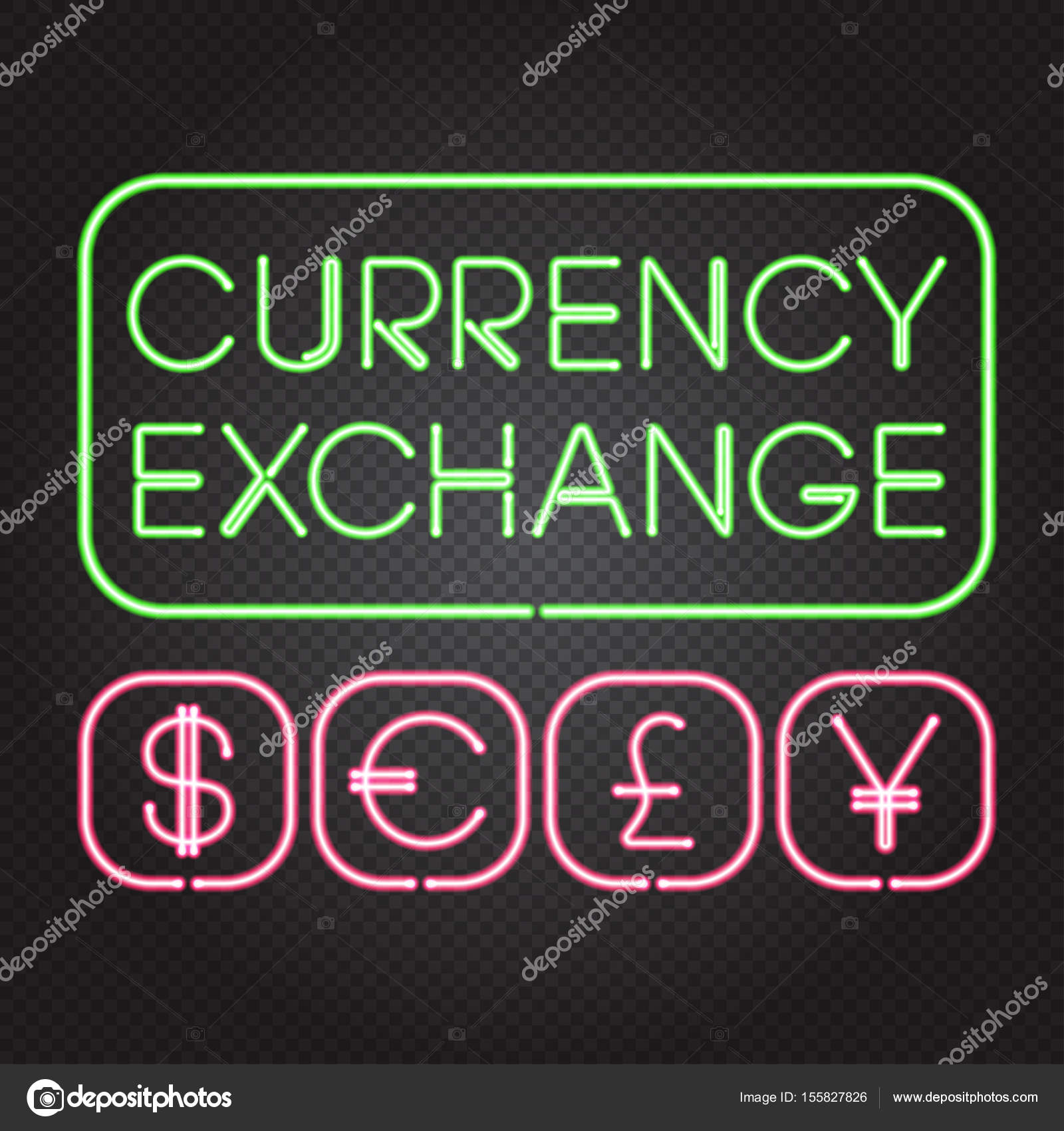 Glowing neon lights currency symbols stock vector laverock vector illustration of glowing neon lights signs currency exchange dollar euro pound yuan on dark transparent background isolated objects easy to biocorpaavc Images