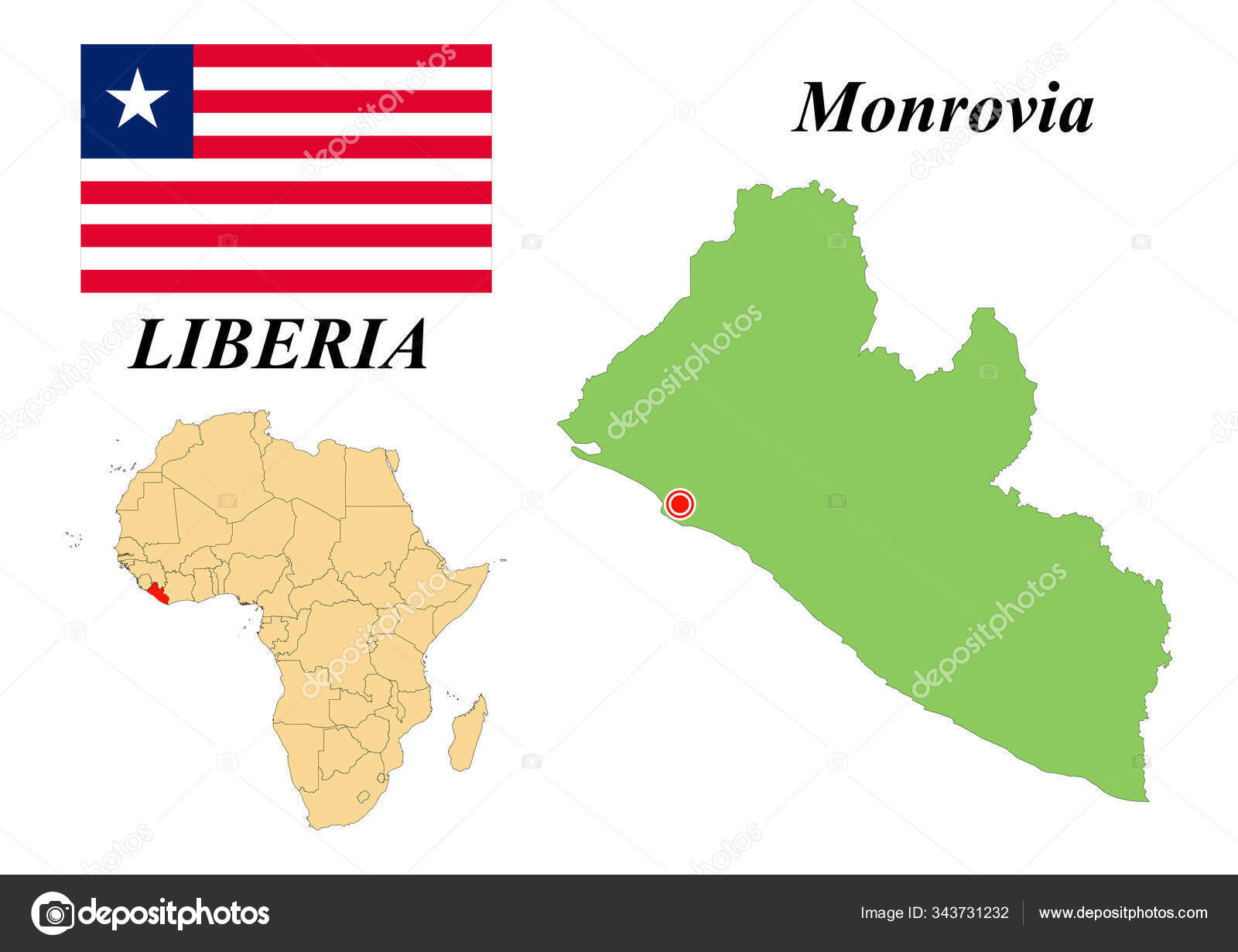 Image of: Republic Liberia Capital Monrovia Flag Liberia Map Continent Africa Country Stock Vector C Svetakuchni Mail Ru 343731232