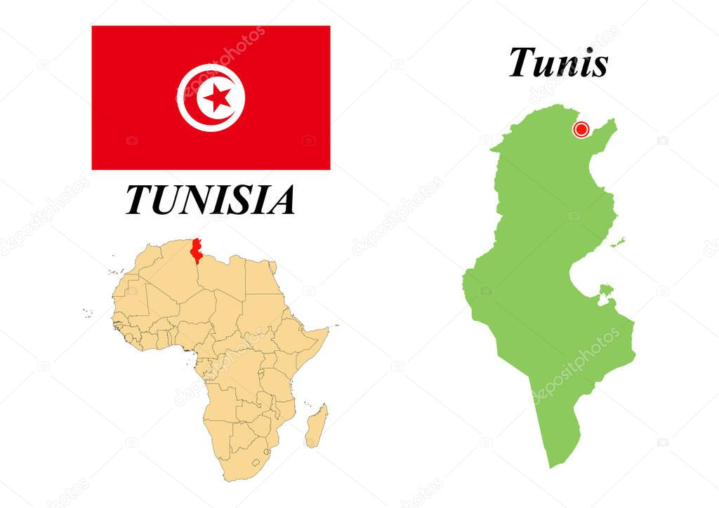 Picture of: Republic Of Tunisia Capital Of Tunisia Flag Of Tunisia Map Of The Continent Of Africa With Country Borders Vector Graphics Premium Vector In Adobe Illustrator Ai Ai Format Encapsulated