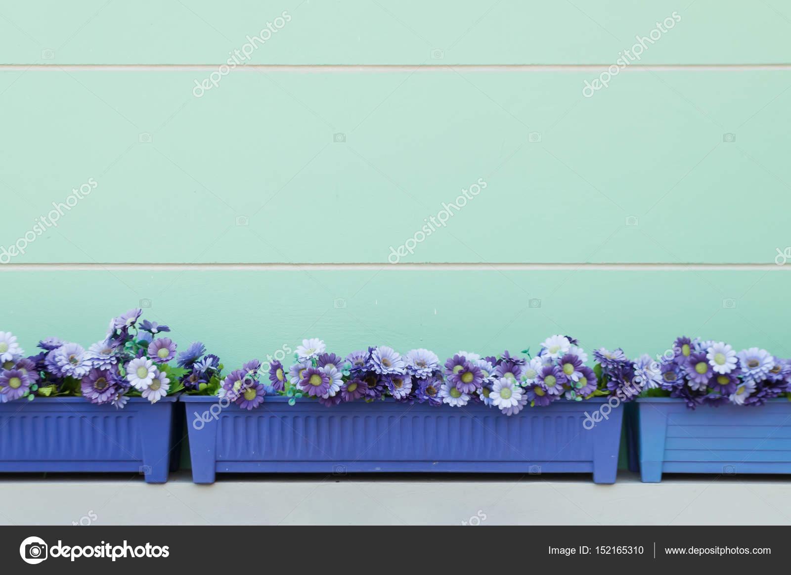 Niebieski Doniczki Prostokątne ścianę Turkus Zdjęcie
