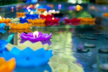 Purple lotus shape candle lit and float on water