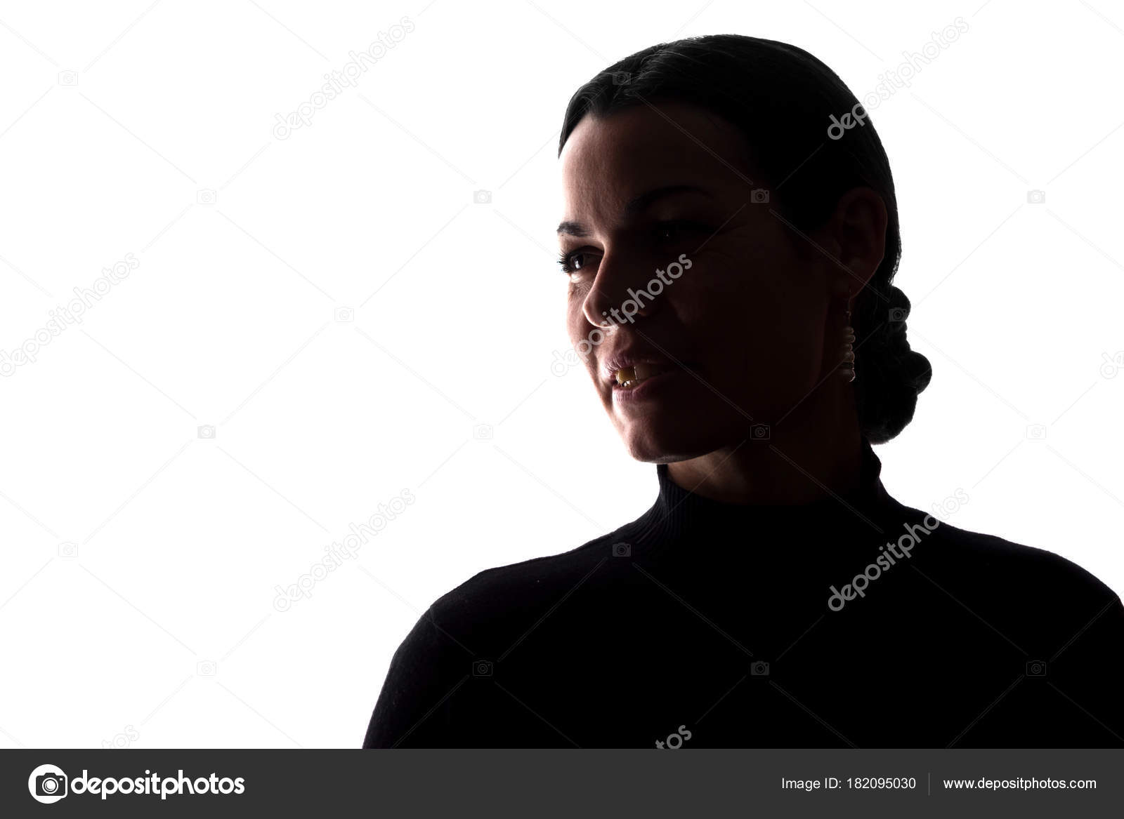 portrait young woman side view horizontal silhouette stock photo