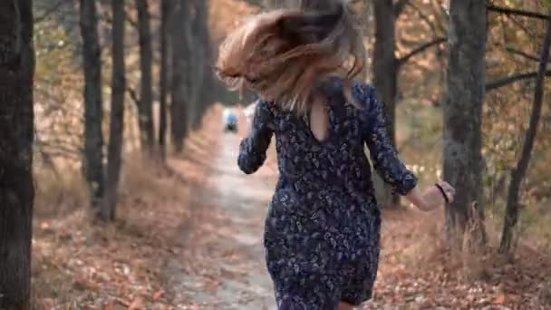 Beautiful Young Woman Running Through Forest Sun Shining