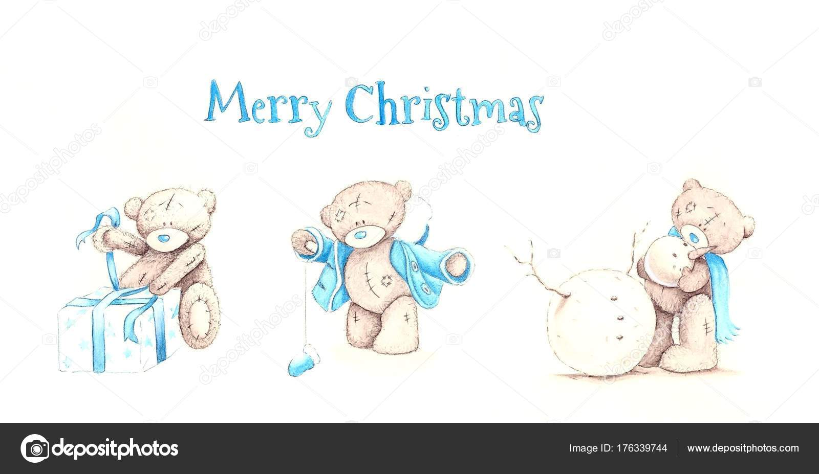 set of cute hand drawn watercolor toy teddy bears in blue colors isolated on white background new year background for card and congratulation with white