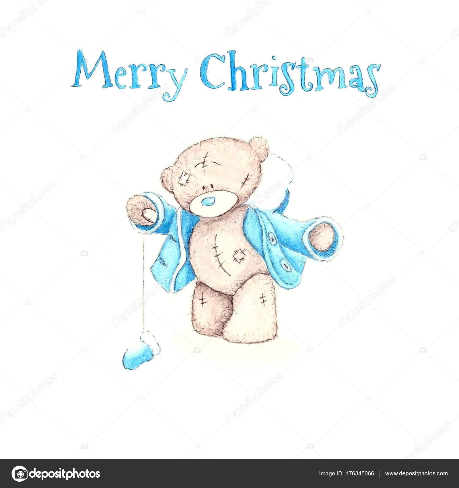 cute hand drawn watercolor toy teddy bears in blue colors isolated on white background new year background for card and congratulation with white bear and
