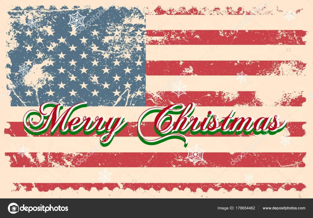 Immagini Natale Usa.Lettere Di Natale Allegro Su Una Bandiera Stati Uniti D America