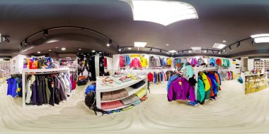 Spherical panorama of the interior of sportswear store 360 to 18