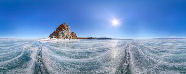Panorama 360 degree Shaman Rock or Cape Burhan on Olkhon Island