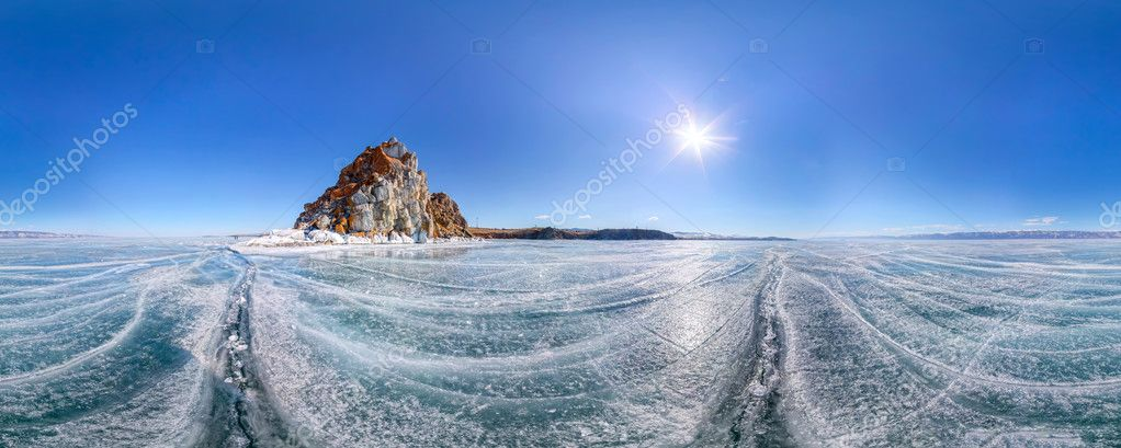 Panorama 360 degree Shaman Rock or Cape Burhan on Olkhon Island