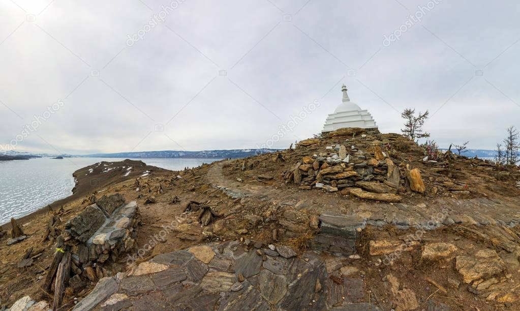 Aerial photo panorama Buddhist stupa of enlightenment Ogoy on an