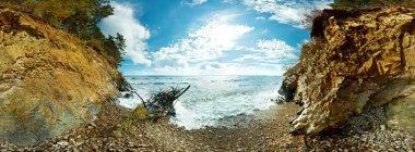 360 Spherical panorama of the beach and rocks on Lake Baikal