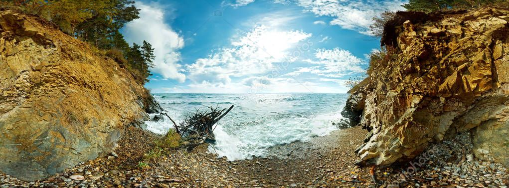360 Spherical panorama of the beach and rocks on Lake Baikal