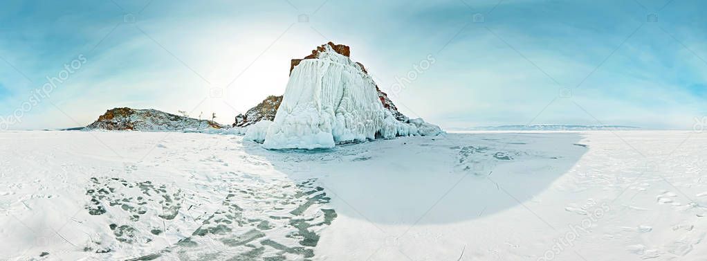 Cylindrical panorama Cape shaman on the island of Olkhon, Lake B