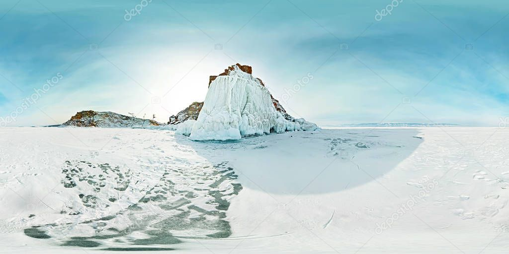 Spherical panorama 360 180 degrees Cape shaman on the island of Olkhon, Lake Baikal