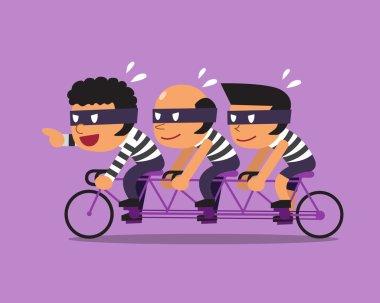 Cartoon three thieves ride tandem bicycle