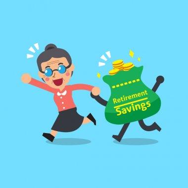 Cartoon senior woman with retirement savings bag