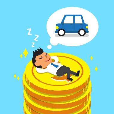 Cartoon businessman falling asleep on money coins and dream about car