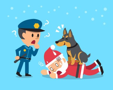 Cartoon doberman dog helping policeman to catch santa claus