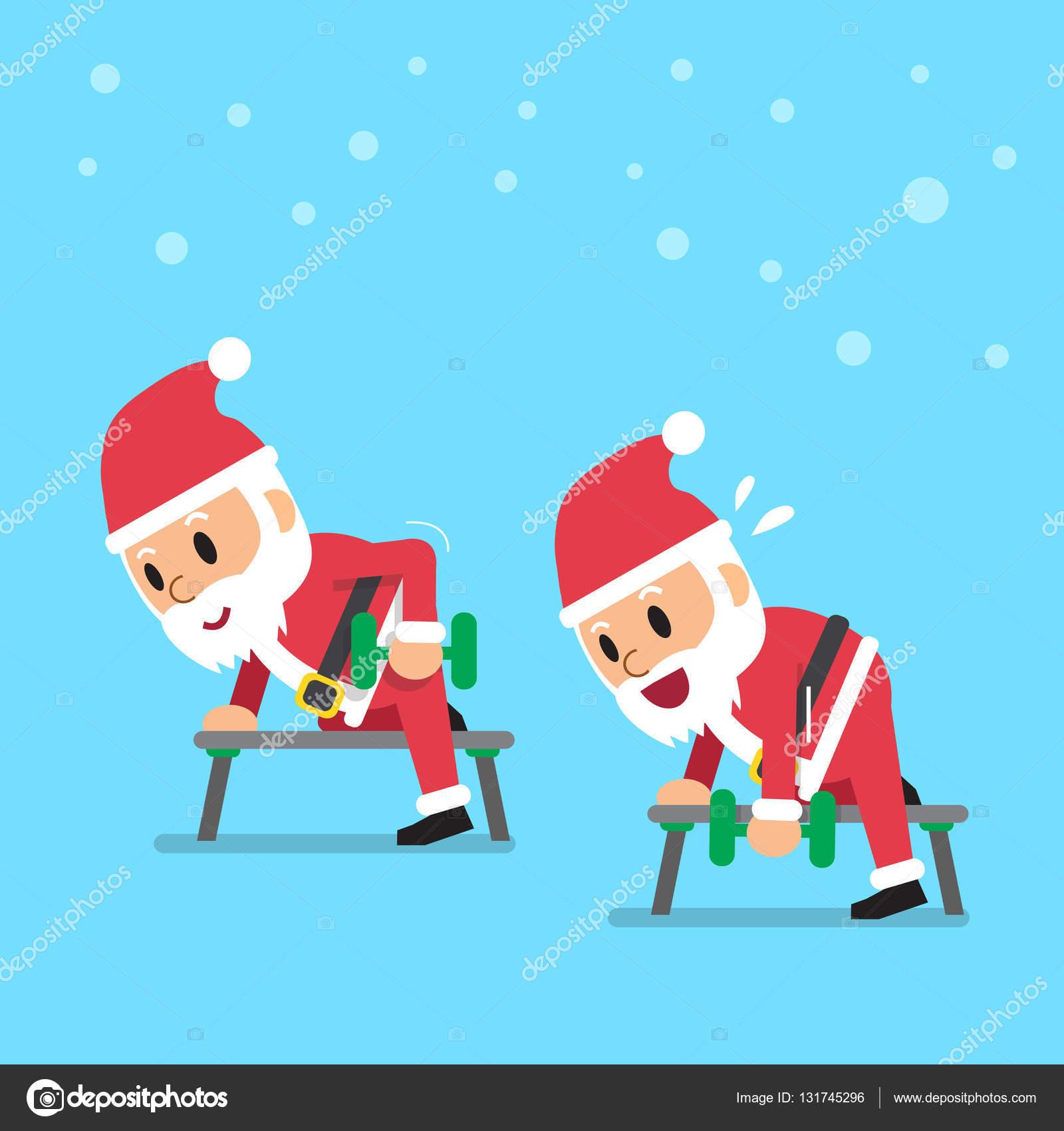 święty Mikołaj Robi ćwiczenia Wiersz Hantle Kreskówka Krok