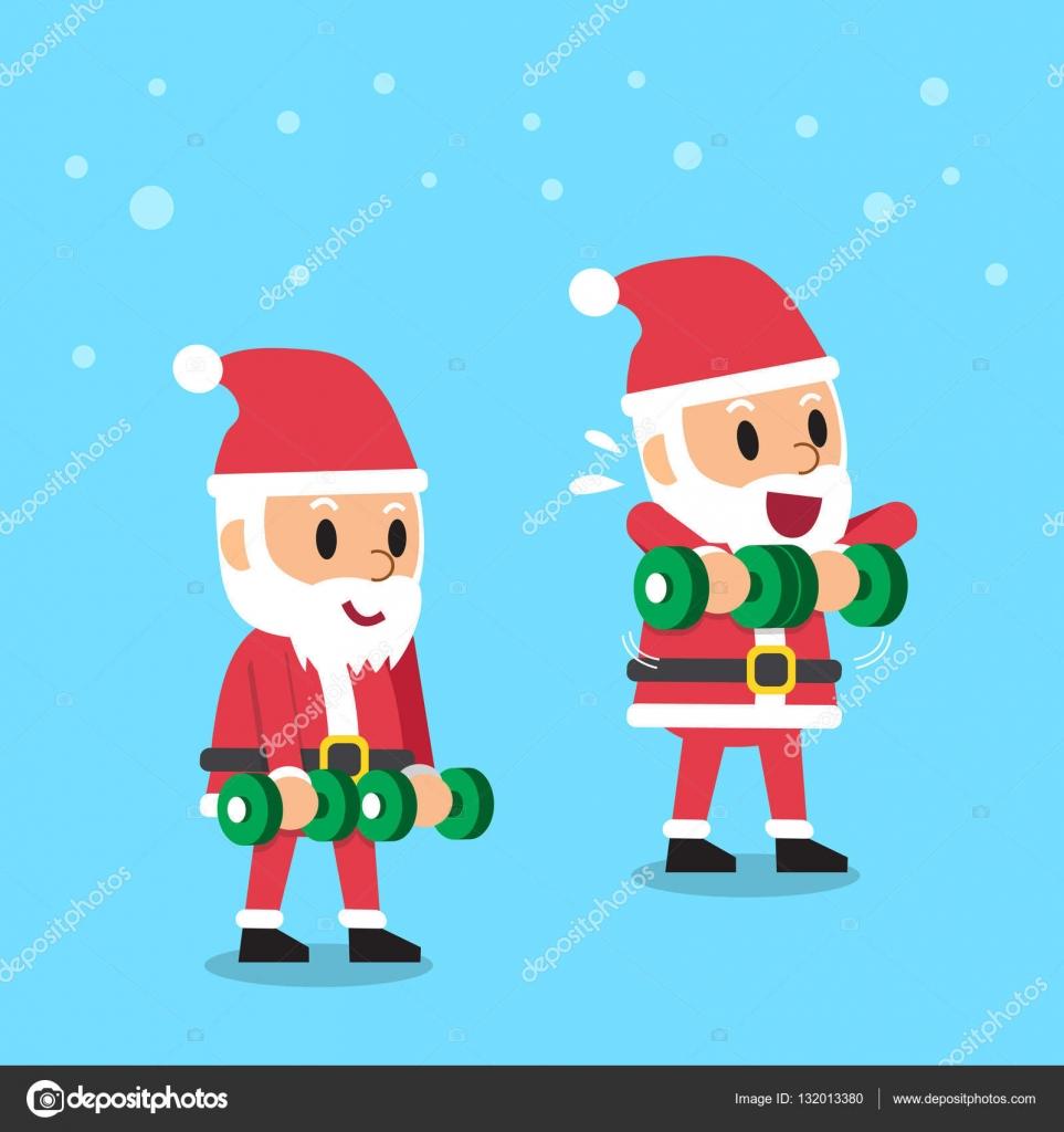 Posizione Babbo Natale.Babbo Natale Fumetto Facendo Manubrio In Posizione Verticale