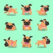 Karikatúra karakter mopszli kutya jelent