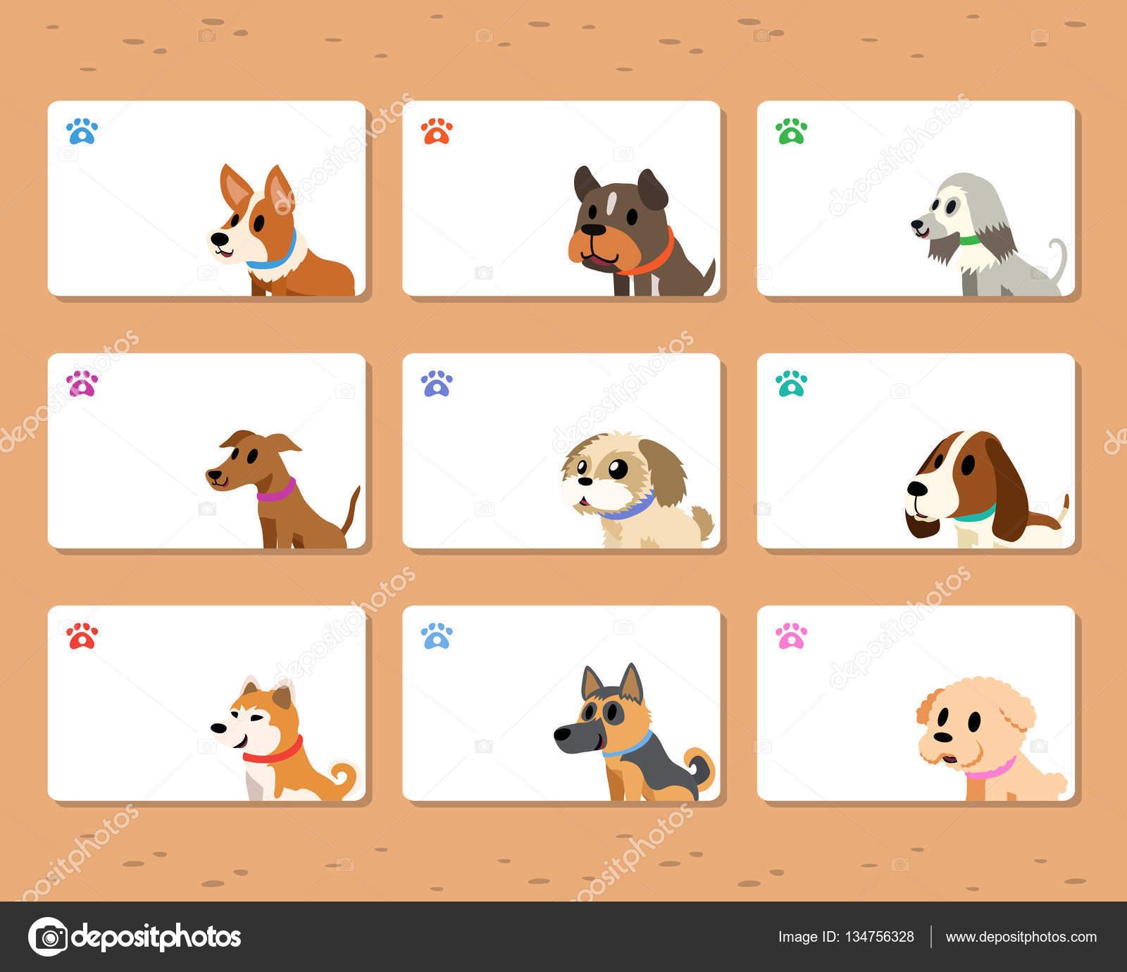 Conjunto de plantillas de tarjetas de perros de dibujos animados ...