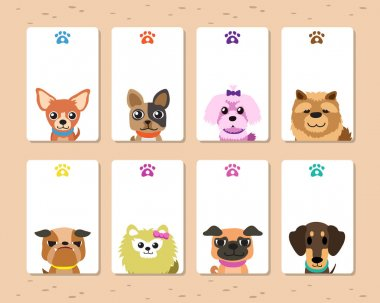Cartoon dogs card template set