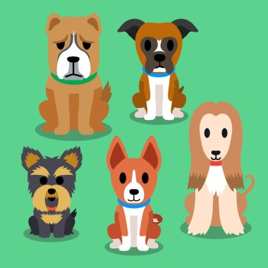 Vector cartoon dogs set