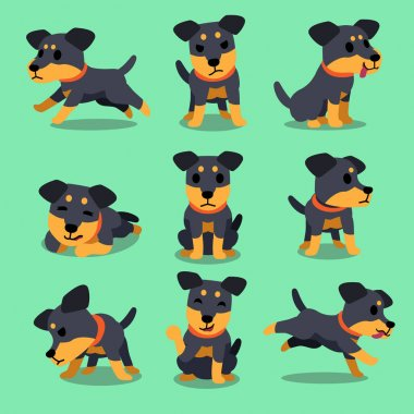 Cartoon character german hunting terrier dog poses