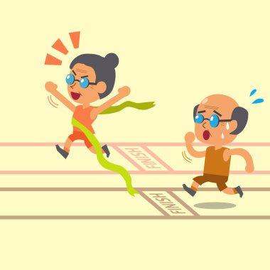Cartoon old woman winning a race before old man