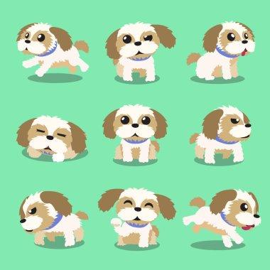 Cartoon character shih tzu dog poses for design. clip art vector
