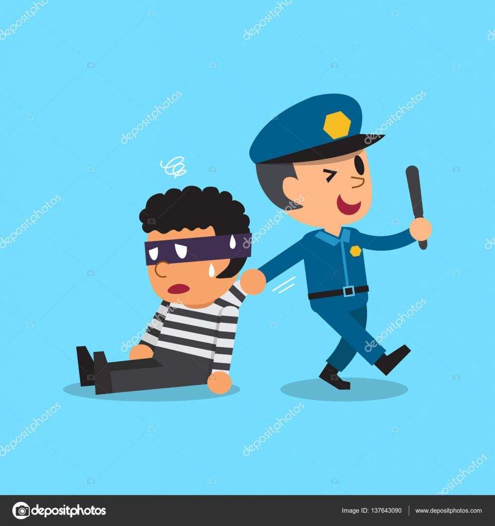 Resultado de imagem para imagem,desenho, polícia prende ladrão