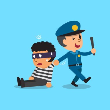 Cartoon policeman and thief