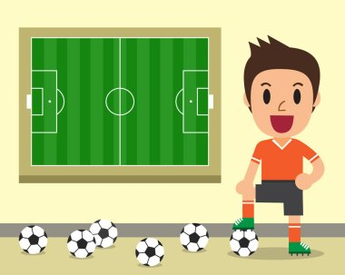 Cartoon male soccer player and soccer field template