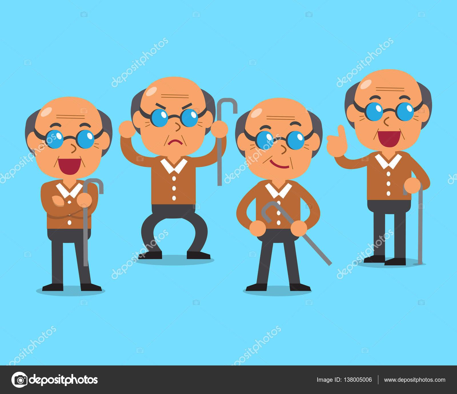 cartoon old man character poses — stock vector © jaaak #138005006