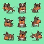 Představuje kreslený charakter pitbulteriér pes