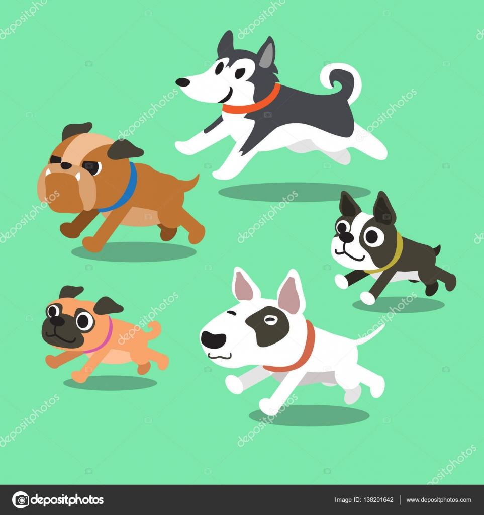 Dibujos animados de perros corriendo — Vector de stock © Jaaak ...