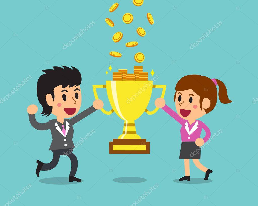 Equipo De Dibujos Animados De Negocios Ganar Dinero Con El