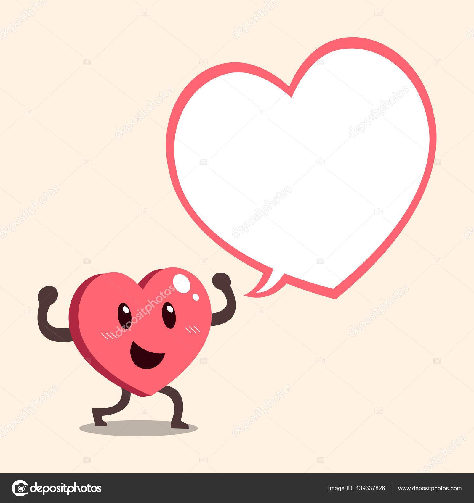 Vector cartoon heart character with big white speech bubble vector cartoon heart character with big white speech bubble stock vector 139337826 buycottarizona Image collections