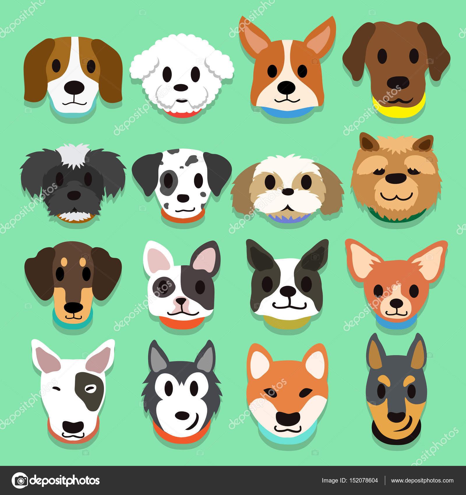 Set di cani dei cartoni animati vettoriali stock jaaak - Animali dei cartoni animati a colori ...