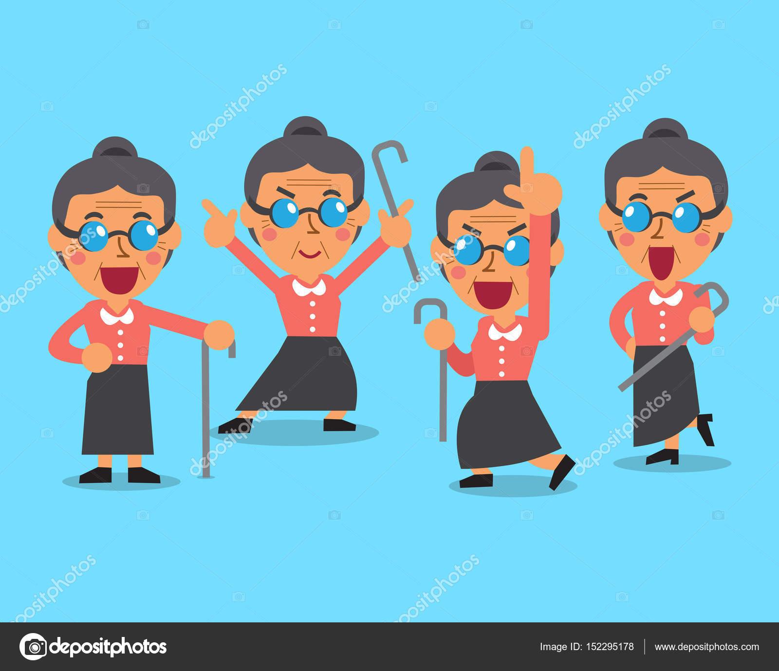 Desenhos Animados Antigos Mulher Personagem Poses Vetores