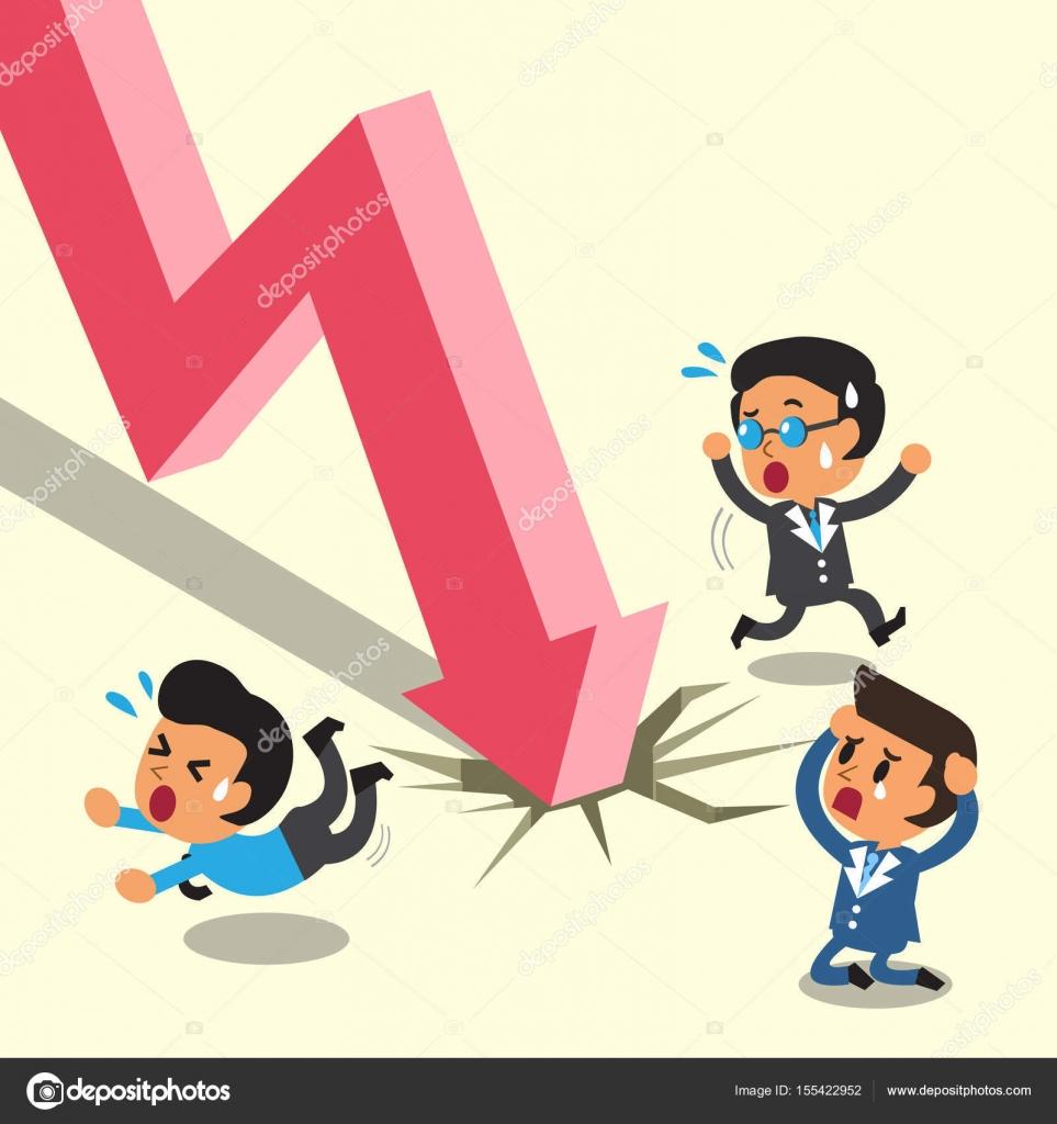 漫画ビジネス人々 が株式市場の矢印から脱出 — ストックベクター © jaaak