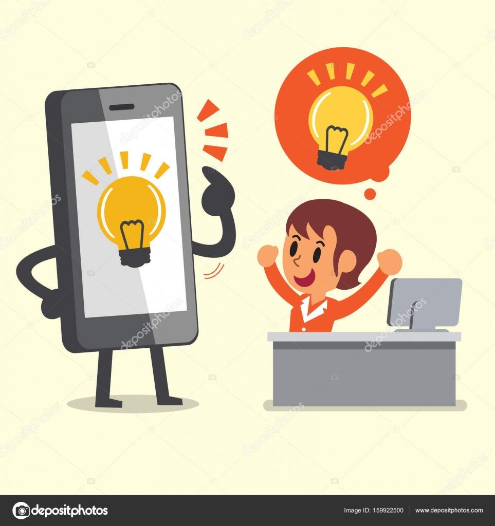 Business Konzept Cartoon Smartphone helfende Geschäftsfrau, neue ...