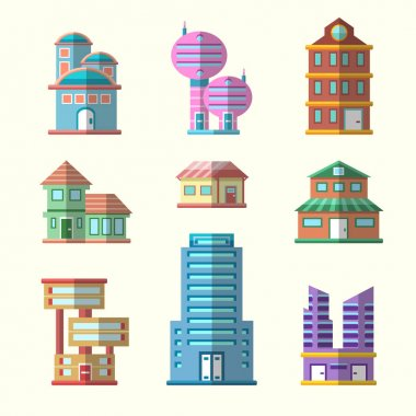 Modern flat vector buildings collection