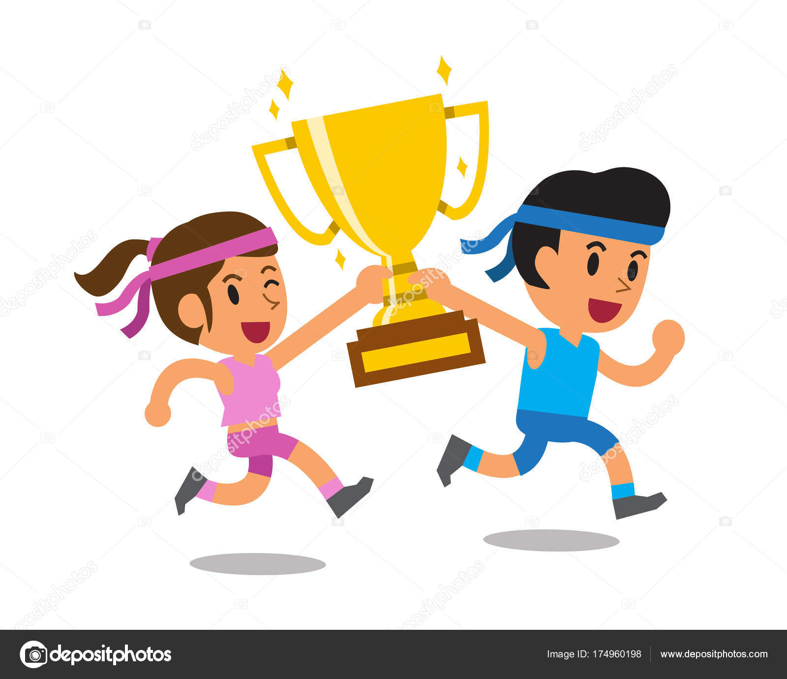 Vector Cartoon Sport Man Woman Holding Big Gold Trophy Cup Stock