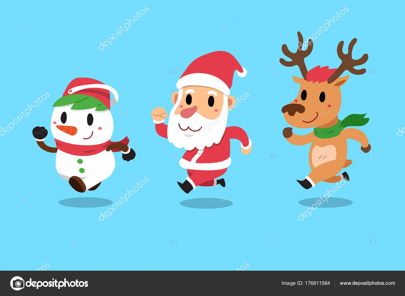 Satz Von Frohe Weihnachten Gefährten Santa Claus Mit Seinem Freund ...
