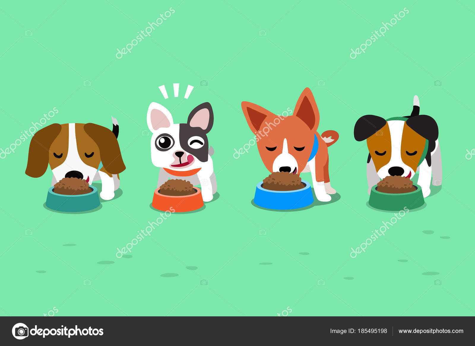 Cartoon Cute Dogs Food Bowls Stock Vector C Jaaak 185495198
