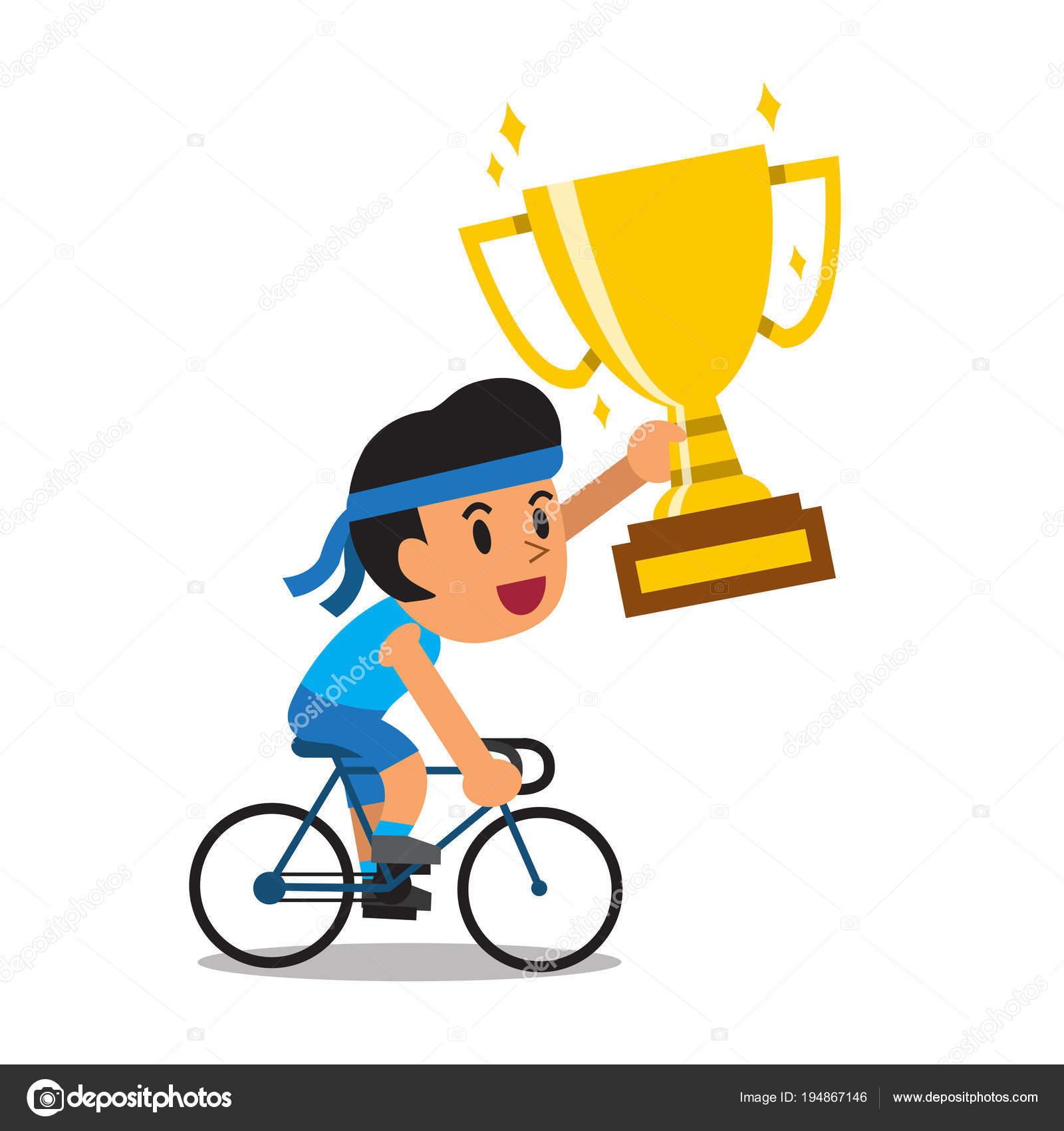 Vector Cartoon Sport Man Riding Bike Holding Big Gold Trophy Stock