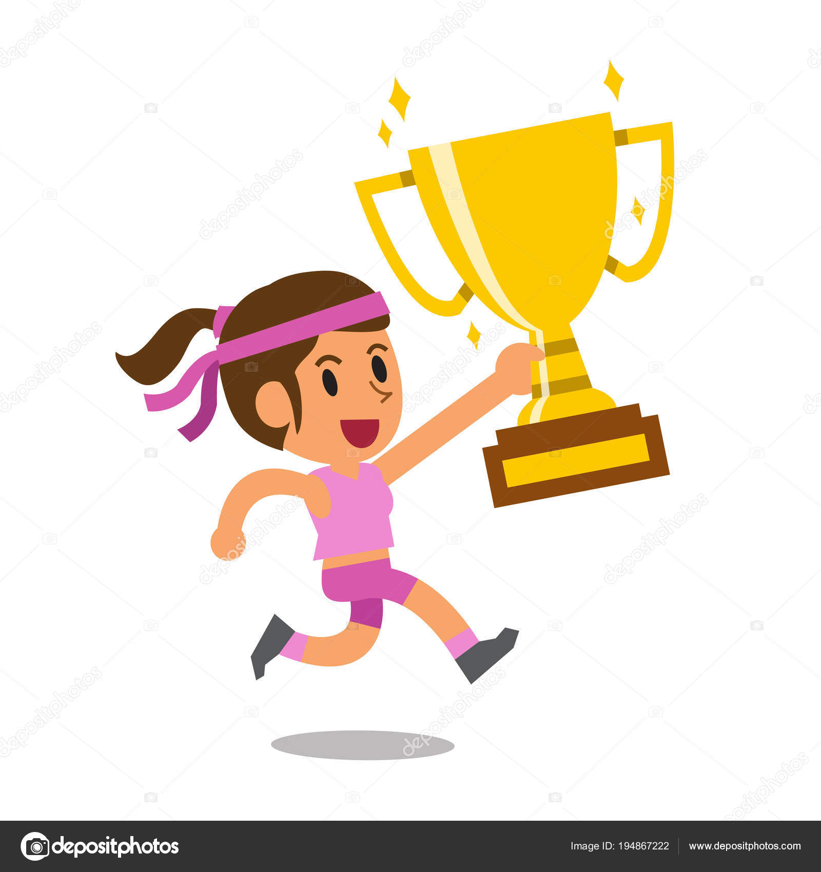 Vector Cartoon Sport Woman Holding Big Gold Trophy Cup Award Stock